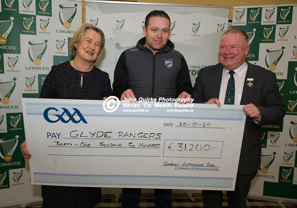 20-01-20. Leinster GAA Club Development Grant Cheque Presentations (See Press Release) at Aras Laighean, Portlaoise.<br /> GAA National Finance Manager Kathy Slattery and Jim Bolger (Right), Cathoirleach, Comhairle Laighean pictured presenting a cheque for €31,200 to Glyde Rangers GAA Club. Co. Louth represented by Anthony Nulty, Chairman.<br /> Photo: John Quirke / www.quirke.ie<br /> ©John Quirke Photography, Unit 17, Blackcastle Shopping Cte. Navan. Co. Meath. 046-9079044 / 087-2579454.