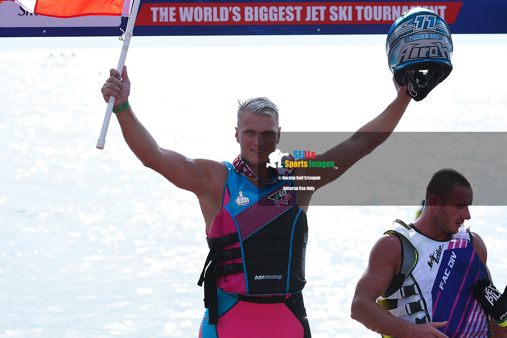 PATTAYA, THAILAND - DECEMBER 09: Marcus Jorgensen (11) of Denmark and MJ Racing reaction on the podium after winning the Pro Runabout 1100 Open at the Thai Airways International Jet Ski World Cup 2018, Jomtien Beach, Pattaya, Thailand on December 09, 2018. <br /> .<br /> .<br /> .<br /> (Photo by: Naratip Golf Srisupab/SEALs Sports Images)<br /> .<br /> Any image use must include a mandatory credit line adjacent to the content which should read: Naratip Golf Srisupab/SEALs Sports Images