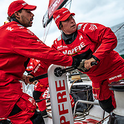 Leg 10, from Cardiff to Gothenburg, day 03 on board MAPFRE, Guillermo Altadill and Tamara Echegoyen trimming. 12 June, 2018.