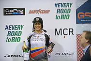 Stefany Hernandez Over all Placed Third in the Elite Women's BMX World Cup Finals at  at the Manchester Arena, Manchester, United Kingdom on 19 April 2015. Photo by Charlotte Graham.