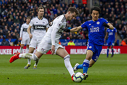 March 9, 2019 - Leicester, Leicestershire, United Kingdom - Harvard Nordtveit of Fulham clears the ball as Shinji Okazaki of Leicester City closes him down   during the Premier League match between Leicester City and Fulham at the King Power Stadium, Leicester on Saturday 9th March 2019. (Credit Image: © Mi News/NurPhoto via ZUMA Press)