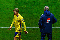 March 23, 2019 - Stockholm, SWEDEN - 190323 Head coach Janne Andersson and Emil Forsberg of Sweden during the UEFA Euro Qualifier football match between Sweden and Romania on March 23, 2019 in Stockholm  (Credit Image: © Simon HastegÃ…Rd/Bildbyran via ZUMA Press)