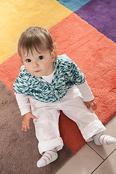 Portrait small child baby girl carpet cute