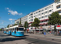 View of tram on famous Avenyn street in Gothenburg in Sweden Scandinavia