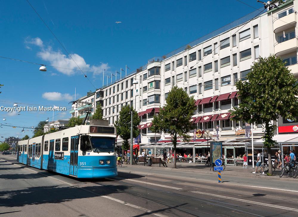 View of tram on famous Avenyn street in Gothenburg in Sweden Scandinavia