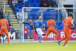 Kilmarock's Josh Magennis (28) scoring their first goal.<br /> Half time : St Johnstone 1 v 2 Kilmarock, SPL game played at McDrarmid Park.