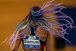 Chanté Samuel throws her hair loose during the Dutch Indoor Athletics Championship on February 23, 2020 in Omnisport De Voorwaarts, Apeldoorn