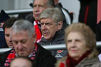 Football - 2017 / 2018 Premier League - AFC Bournemouth vs. Arsenal<br /> <br /> Arsenal Manager Arsene Wenger takes his seat in the stands before kick off to finish his final touch line ban at Dean Court (Vitality Stadium) Bournemouth <br /> <br /> COLORSPORT/SHAUN BOGGUST