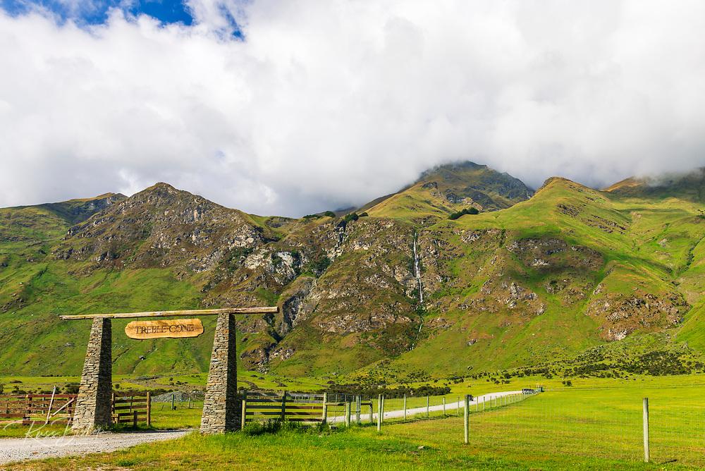 Twin Falls and the entrance to Treble Cone Ski Area, Wanaka, Otago, South Island, New Zealand