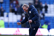 Neil Warnock, the Cardiff city manager is delighted at the end of the match as he celebrates his teams 1-0 win.  EFL Skybet championship match, Cardiff city v Bristol city at the Cardiff city stadium in Cardiff, South Wales on Sunday 25th February 2018.<br /> pic by Andrew Orchard, Andrew Orchard sports photography.