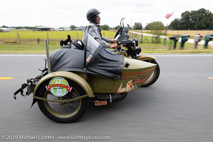 Bill Reese riding his Brooklyn Babe 1933 Harley-Davidson VLE with sidecar in the Cross Country Chase motorcycle endurance run from Sault Sainte Marie, MI to Key West, FL. (for vintage bikes from 1930-1948). 287 mile ride of Stage-8 from Tallahassee to Lakeland, FL USA. Friday, September 13, 2019. Photography ©2019 Michael Lichter.`