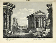 Temple of Hercules and Temple of Fortuna Virilis Copperplate engraving From the Encyclopaedia Londinensis or, Universal dictionary of arts, sciences, and literature; Volume XXII;  Edited by Wilkes, John. Published in London in 1827