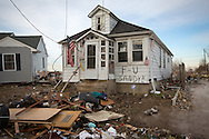 Union Beach NJ, November 16, Home  destroyed by superstorm Sandy's surge, that damaged over 200 homes in Union Beach alone. Hurricane Sandy's strength is being blamed on climate change by many scientists.