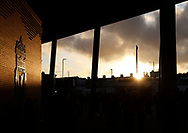 Sun setting on Anfield Stadium during the UEFA Champions League match at Anfield, Liverpool. Picture date: 11th March 2020. Picture credit should read: Darren Staples/Sportimage
