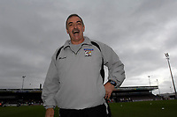 Photo: Daniel Hambury.<br />Northampton Town v Swansea City. Coca Cola League 1. 28/10/2006.<br />Northampton's manager John Gorman is all smiles after his first home win of the season.