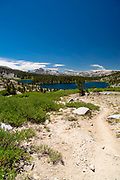 Overlooking Sallie Keyes Lakes along the John Muir Trail (looking southward); John Muir Wilderness, Sierra National Forest, Sierra Nevada Mountains, California, USA.