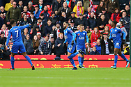 Riyad Mahrez of Leicester City (c) celebrates after scoring his teams 2nd goal to make it 1-2. Premier league match, Stoke City v Leicester City at the Bet365 Stadium in Stoke on Trent, Staffs on Saturday 4th November 2017.<br /> pic by Chris Stading, Andrew Orchard sports photography.