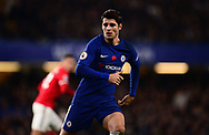 Alvora Morata of Chelsea in action .Premier league match, Chelsea v Manchester United at Stamford Bridge in London on Sunday 5th November 2017.<br /> pic by Andrew Orchard sports photography.