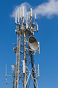 Provincial  cellular, microwave and telecom communications systems lattice tower in Hervey Bay, Queensland, Australia. <br /> <br /> Editions:- Open Edition Print / Stock Image
