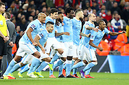 Manchester city players celebrate the win over Liverpool after penalty shootout. Capital One Cup Final, Liverpool v Manchester City at Wembley stadium in London, England on Sunday 28th Feb 2016. pic by Chris Stading, Andrew Orchard sports photography.