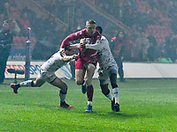 Rugby Union - 2019 / 2020 European Rugby Challenge Cup - Pool Two: Scarlets vs. Toulon<br /> <br /> ,Johnny McNicholl, of Llanelli Scarlets attacks prior to their 1st try  at Parc y Scarlets, Llanelli.<br /> <br /> COLORSPORT/WINSTON BYNORTH