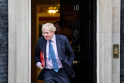 © Licensed to London News Pictures. 21/02/2017. London, UK. Foreign and Commonwealth Secretary Boris Johnson leaving Number 10 Downing Street after attending a Cabinet meeting this morning. Photo credit : Tom Nicholson/LNP