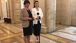 """DUP leader Arlene Foster and Emma Little-Pengelly, MP for the Belfast South. Foster said her party was """"constructively engaging"""" in the talks and hoped they could quickly find a way forward as uncertainty at Westminster and over Brexit form the backdrop to the latest effort to negotiate a deal between the main Stormont parties."""