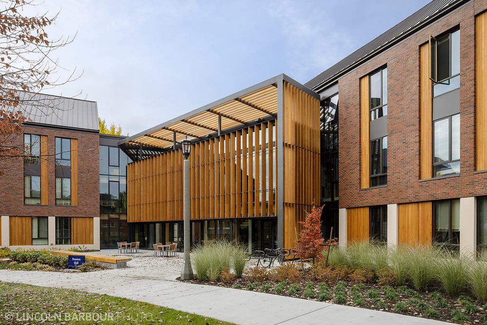 The main entrance to Stanton Hall showcasing the wooden sun shades on the exterior.
