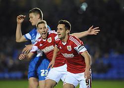 Bristol City's Sam Baldock celebrates his second goal. - Photo mandatory by-line: Dougie Allward/JMP - Mobile: 07966 386802 11/03/2014 - SPORT - FOOTBALL - Peterborough - London Road Stadium - Peterborough United v Bristol City - Sky Bet League One