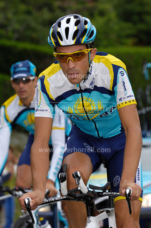 France, Talloire, 22 July 2009: Alberto Contador Velasco (Spa) Astana rides up the Côte de Bluffy before the start of Stage 18. Images from Stage 18 - a 40.5 km Annecy to Annecy individual time trial. Photo by Peter Horrell / http://peterhorrell.com .