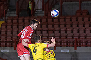 Crawley Town forward Ashley Nadesan (#10) came the closest to scoring in the first half of the EFL Sky Bet League 2 match between Crawley Town and Walsall at The People's Pension Stadium, Crawley, England on 16 March 2021.