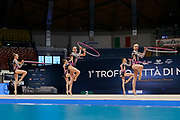 """Belarus Junior Group during the """"1st Trofeo Citta di Monza"""". On this occasion we have seen the rhythmic gymnastics teams of Belarus and Italy challenge each other. The Bilateral period was only June 9, 2019 at the Candy Arena in Monza, Italy."""