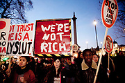 Students marching in London against the proposed scapping of Education Maintenance Allowance(EMA) which costs the government £500b / year. The maximum EMA a stucent can get is £30.00/week and to many students this is essential monies to make it through their studies. Several hundreds of students marched noisily but peacefully from Picadilly Circus to Parliament Square by Westminster in London. The Government won the vote and on the night of Jan 19th the EMA was scrapped.