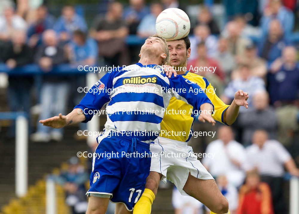 Morton v St Johnstone...09.08.08<br /> Saints trialist Dan Smith gets the better of Jim McAlister<br /> Picture by Graeme Hart.<br /> Copyright Perthshire Picture Agency<br /> Tel: 01738 623350  Mobile: 07990 594431