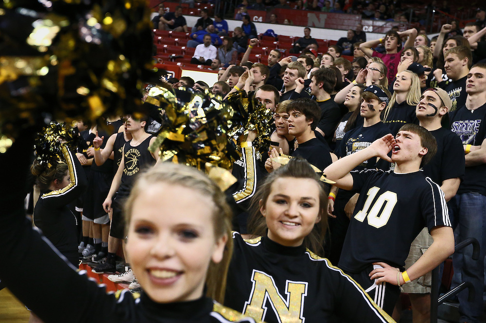 Grand Island Northwest fans including senior Heath Pederson (10) cheer on the Vikings during the fourth quarter of Saturday's Class B State Championship against Norris at the Davaney Sports Center in Lincoln. Northwest won 62-51 in double overtime. (Independent/Matt Dixon)