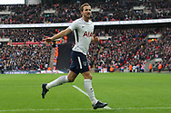 Harry Kane of Tottenham Hotspur celebrates after scoring his teams fifth goal (his 3rd) to complete his hat-trick and break another  goal scoring record.Premier league match, Tottenham Hotspur v Southampton at Wembley Stadium in London on Boxing Day Tuesday 26th December 2017.<br /> pic by Steffan Bowen, Andrew Orchard sports photography.