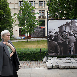 Warsaw, Poland - May, 2009 - An exhibit depicting the occupation of Warsaw in World War II and it's subsequent bombing stands in a park next to the Hotel Bristol on Ul Krakowskie Przedmiesce..Photo © Susana Raab 2009