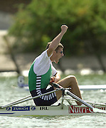 2002 World Rowing Championships - Seville - SPAIN. Ireland's Sam Lynch, IRL LM1X,  celebrates after winning the men's lightweight single sculls final  at  the World Rowing Championship,  held on the the Rio Guadalquiver course.  . [Mandatory Credit: Peter SPURRIER/Intersport Images]<br /> <br /> 20020921 World Rowing Championships Seville, SPAIN