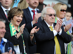 Deli Smith claps as her teams come out.  - Photo mandatory by-line: Alex James/JMP - Mobile: 07966 386802 30/08/2014 - SPORT - FOOTBALL - Cardiff - Cardiff City stadium - Cardiff City  v Norwich City - Barclays Premier League