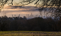 """Distand clouds loom over south west London. The threatened snow from """"The Beast From The East"""" weather system doesn't materialise overnight in London leaving a crisp, clear morning, seen from Hampstead Heath in North London. London, February 27 2018."""