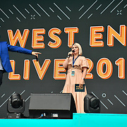 Presenters of West End Live 2019 in Trafalgar Square, on 22 June 2019, London, UK.