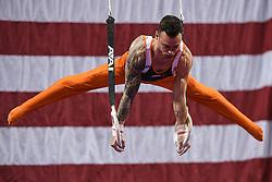 March 2, 2019 - Greensboro, North Carolina, US - BART DEURLOO from the Netherlands competes on the still rings at the Greensboro Coliseum in Greensboro, North Carolina. (Credit Image: © Amy Sanderson/ZUMA Wire)