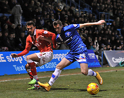 Gillingham's Ben Dickenson controls the ball under pressure from Bristol City's Marlon Pack - Photo mandatory by-line: Dougie Allward/JMP - Mobile: 07966 386802 - 28/12/2014 - SPORT - football - Gillingham - Priestfield Stadium - Bristol City v Gillingham - Sky Bet League One