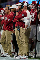 Head coach Lincoln Riley of the Oklahoma Sooners looks on from the sidelines during the first half against the LSU Tigers in the 2019 College Football Playoff Semifinal at the Chick-fil-A Peach Bowl on Saturday, Dec. 28, in Atlanta. (Paul Abell via Abell Images for the Chick-fil-A Peach Bowl)