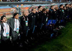 Coach of Argentina Diego Maradona during the 2010 FIFA World Cup South Africa Round of Sixteen match between Argentina and Mexico at Soccer City Stadium on June 27, 2010 in Johannesburg, South Africa. (Photo by Vid Ponikvar / Sportida)