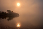 Fog on Lake Superior at sunrise<br />Rossport<br />Ontario<br />Canada