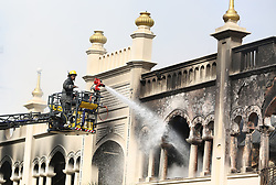 SOUTH AFRICA - Durban - 24 August 2020 -  Durban Historic Grey street mosque's apartments front of the mosques gutted by fire while emergency service officials have rushed to the scene to try and extinguish the blaze.The structure has a capacity of up to 7,000 worshipers and was built in the 1930s.This makes it one of the largest and oldest mosques in the southern hemisphere.<br /> Picture: Motshwari Mofokeng/African News Agency (ANA)