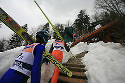 Pre-jumpers at Flying Hill Individual in 2nd day of 32nd World Cup Competition of FIS World Cup Ski Jumping Final in Planica, Slovenia, on March 20, 2009. (Photo by Vid Ponikvar / Sportida)
