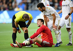 May 13, 2018 - Los Angeles, CA, U.S. - LOS ANGELES, CA - MAY 13: Los Angeles FC goalkeeper Tyler Miller (1) reacts after being hit in the face with the ball during the game between New York City FC and the Los Angeles FC on May 13, 2018, at Banc of California Stadium in Los Angeles, CA. (Photo by David Dennis/Icon Sportswire) (Credit Image: © David Dennis/Icon SMI via ZUMA Press)