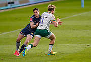 Sale Sharks Luke James tackles London Irish Wing Ollie Hassell-Collins during a Gallagher Premiership Round 14 Rugby Union match, Sunday, Mar 21, 2021, in Eccles, United Kingdom. (Steve Flynn/Image of Sport)